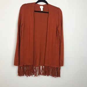 🧜🏻♀️ CHICO'S 0 adobe fringed  open cardigan